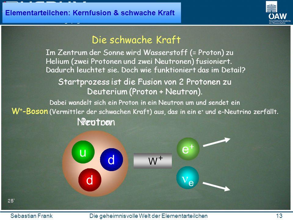 13Die geheimnisvolle Welt der ElementarteilchenSebastian Frank d u u Proton Die schwache Kraft Im Zentrum der Sonne wird Wasserstoff (= Proton) zu Helium (zwei Protonen und zwei Neutronen) fusioniert.
