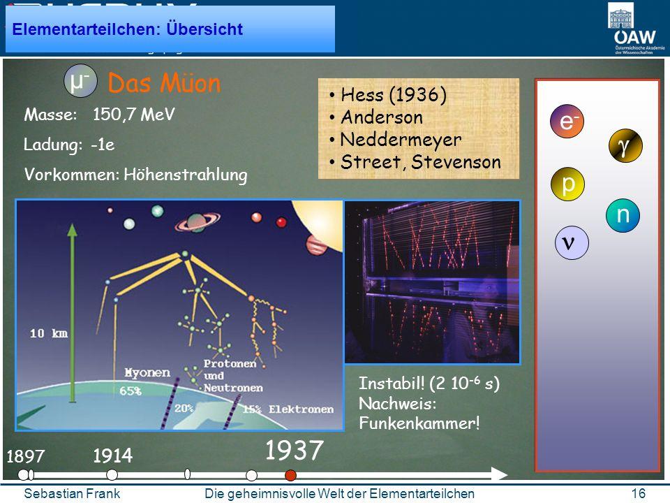 16Die geheimnisvolle Welt der ElementarteilchenSebastian Frank 1897 e-e- 1914 Das Müon µ-µ- p n 1937 Hess (1936) Anderson Neddermeyer Street, Stevenson Elementarteilchen: Übersicht Masse: 150,7 MeV Ladung: -1e Vorkommen: Höhenstrahlung Instabil.