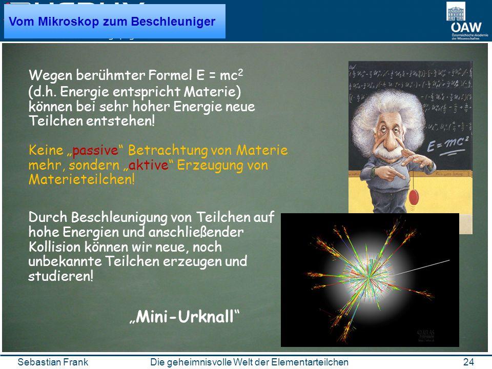 24Die geheimnisvolle Welt der ElementarteilchenSebastian Frank Wegen berühmter Formel E = mc 2 (d.h.