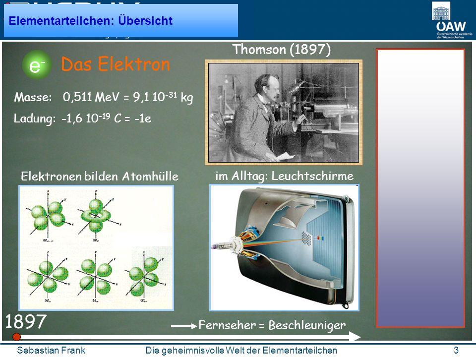 3Die geheimnisvolle Welt der ElementarteilchenSebastian Frank 1897 Das Elektron Thomson (1897) Elementarteilchen: Übersicht Masse: 0,511 MeV = 9,1 10 -31 kg Ladung: -1,6 10 -19 C = -1e Fernseher = Beschleuniger Elektronen bilden Atomhülle im Alltag: Leuchtschirme e-e-