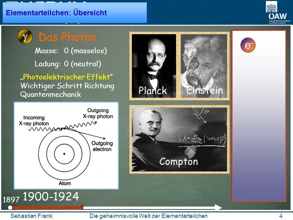 4Die geheimnisvolle Welt der ElementarteilchenSebastian Frank 1897 1900-1924 Das Photon Planck Einstein Compton Elementarteilchen: Übersicht Masse: 0 (masselos) Ladung: 0 (neutral) Photoelektrischer Effekt Wichtiger Schritt Richtung Quantenmechanik e-e-