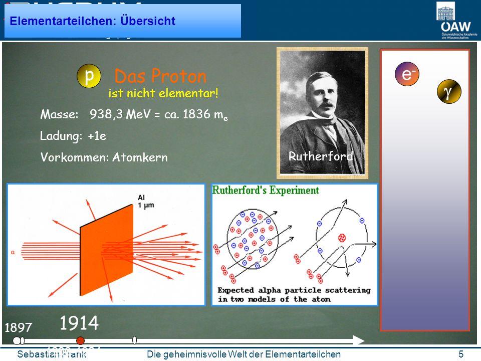 5Die geheimnisvolle Welt der ElementarteilchenSebastian Frank 1897 e-e- 1900-1924 1914 Rutherford Das Proton p Elementarteilchen: Übersicht Masse: 938,3 MeV = ca.