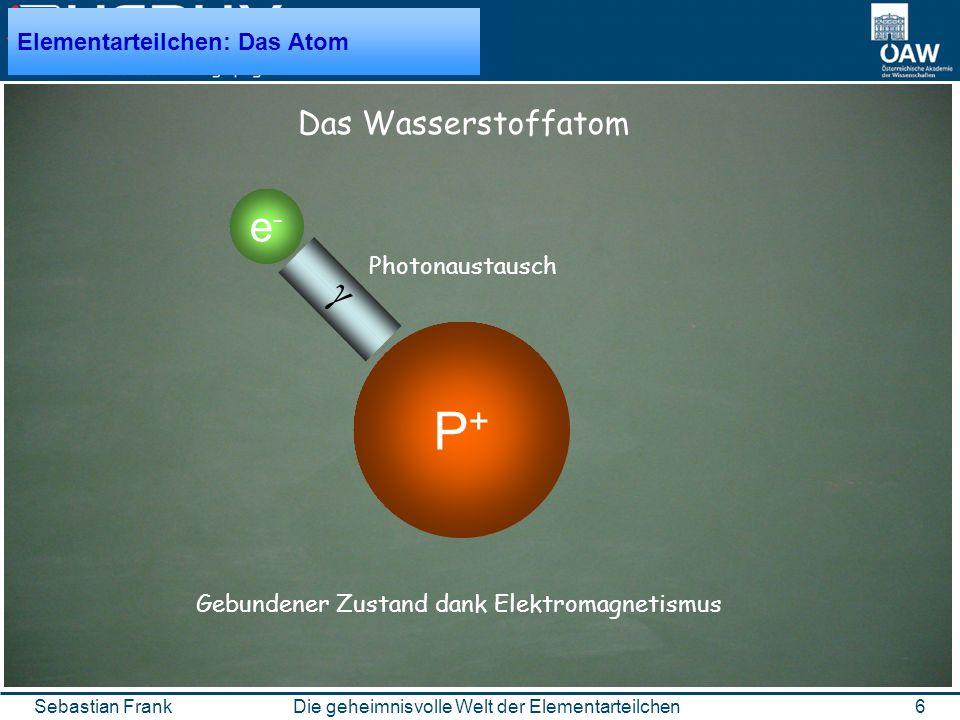 6Die geheimnisvolle Welt der ElementarteilchenSebastian Frank P+P+ e-e- Das Wasserstoffatom Gebundener Zustand dank Elektromagnetismus Photonaustausch Elementarteilchen: Das Atom