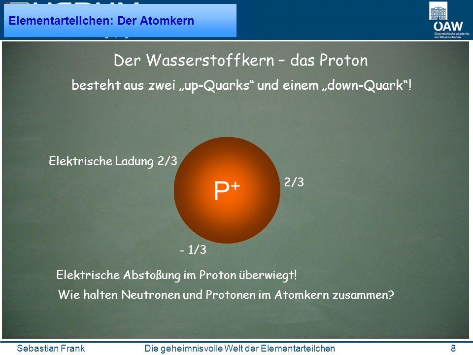 8Die geheimnisvolle Welt der ElementarteilchenSebastian Frank d u u besteht aus zwei up-Quarks und einem down-Quark.