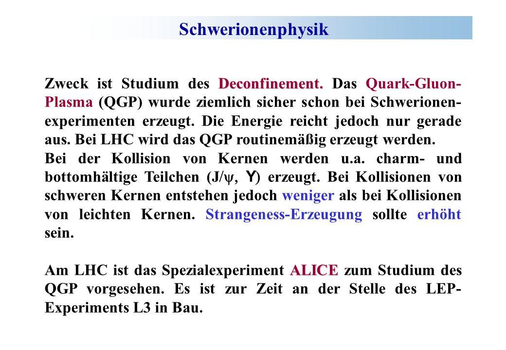 Schwerionenphysik Deconfinement. Zweck ist Studium des Deconfinement. Das Quark-Gluon- Plasma (QGP) wurde ziemlich sicher schon bei Schwerionen- exper