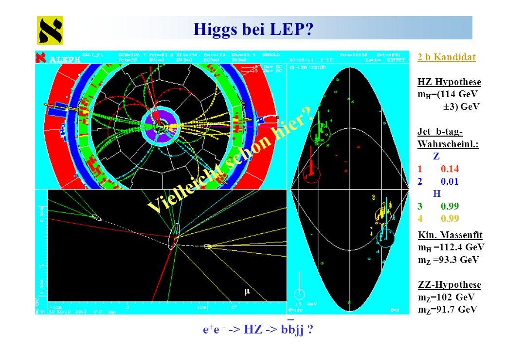 Higgs bei LEP? 2 b Kandidat HZ Hypothese m H =(114 GeV 3) GeV Jet b-tag- Wahrscheinl.: Z 1 0.14 2 0.01 H 3 0.99 4 0.99 Kin. Massenfit m H =112.4 GeV m