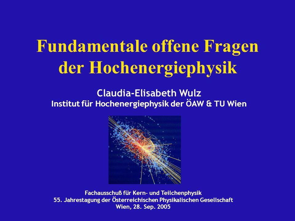 Wien, Sep.2005 C.-E. Wulz12 Status der Higgsmassenbestimmung Direkte Suche bei LEP 2000 beendet.