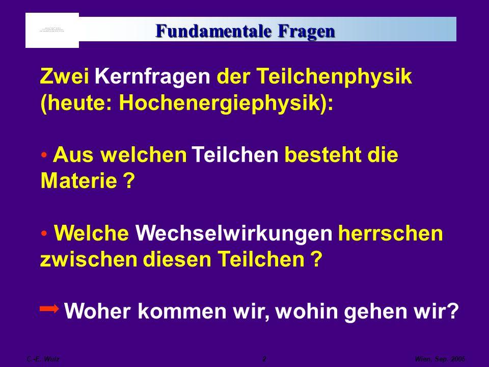 Wien, Sep. 2005 C.-E. Wulz2 Fundamentale Fragen Zwei Kernfragen der Teilchenphysik (heute: Hochenergiephysik): Aus welchen Teilchen besteht die Materi