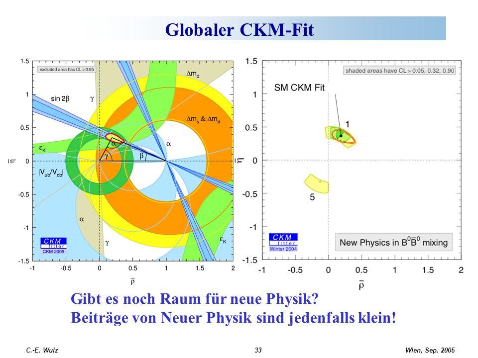 Wien, Sep. 2005 C.-E. Wulz33 Globaler CKM-Fit Gibt es noch Raum für neue Physik? Beiträge von Neuer Physik sind jedenfalls klein!