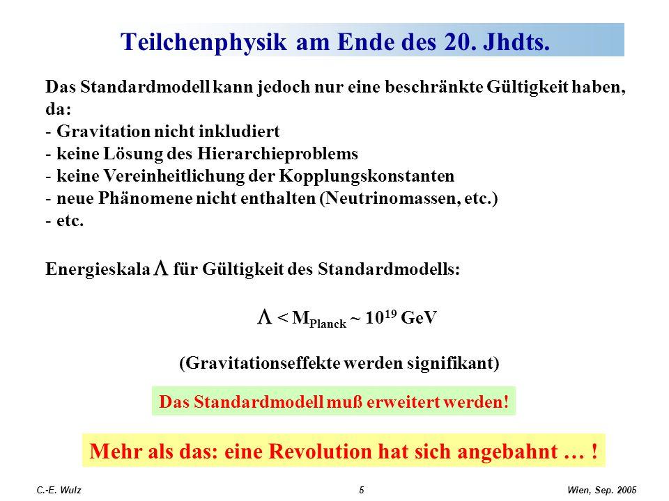 Wien, Sep. 2005 C.-E. Wulz5 Teilchenphysik am Ende des 20. Jhdts. Das Standardmodell kann jedoch nur eine beschränkte Gültigkeit haben, da: - Gravitat