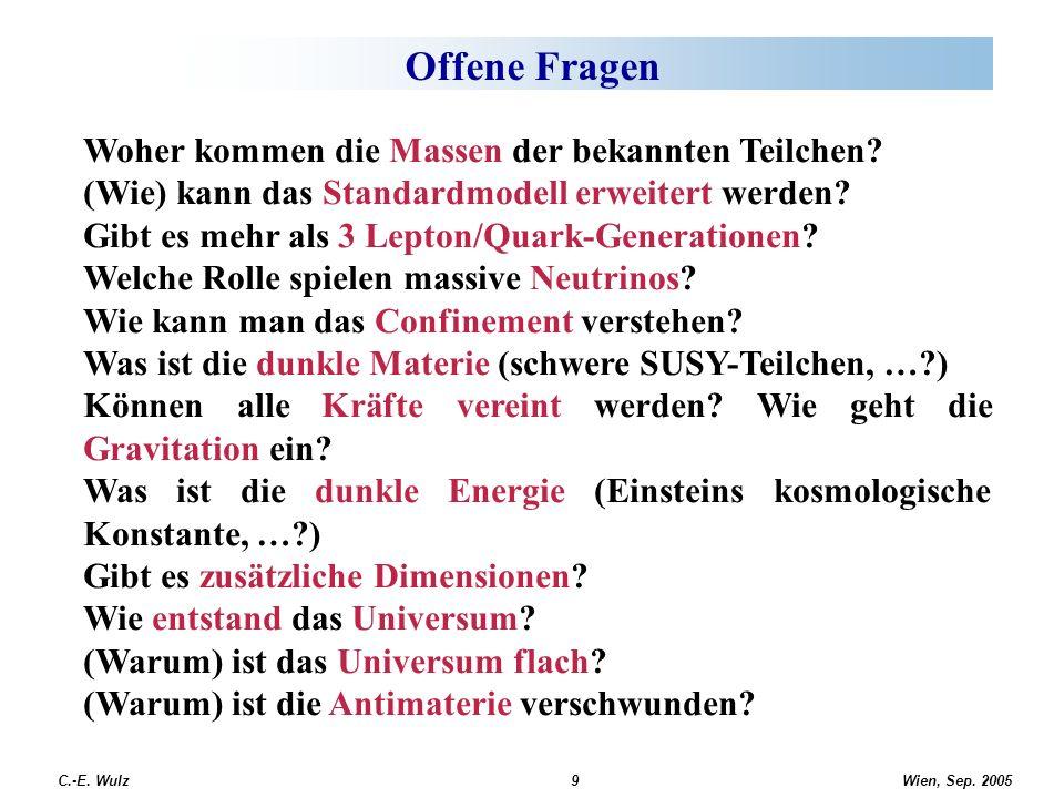 Wien, Sep. 2005 C.-E. Wulz9 Offene Fragen Woher kommen die Massen der bekannten Teilchen? (Wie) kann das Standardmodell erweitert werden? Gibt es mehr