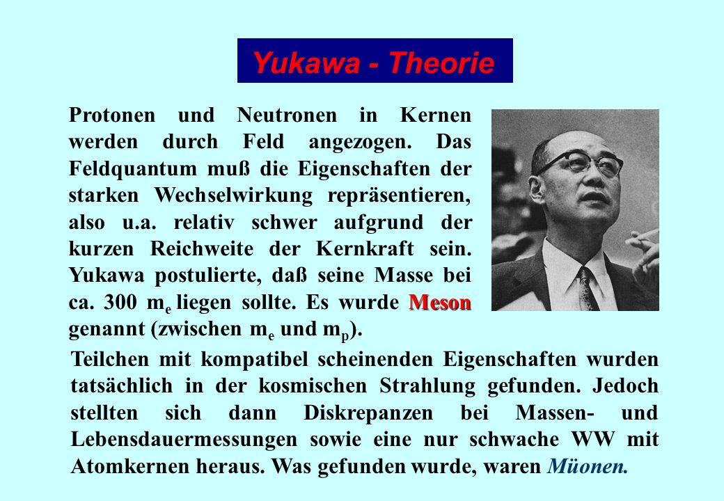 Yukawa - Theorie Meson Protonen und Neutronen in Kernen werden durch Feld angezogen. Das Feldquantum muß die Eigenschaften der starken Wechselwirkung