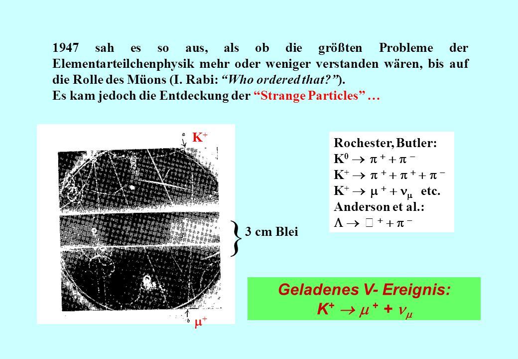 1947 sah es so aus, als ob die größten Probleme der Elementarteilchenphysik mehr oder weniger verstanden wären, bis auf die Rolle des Müons (I. Rabi: