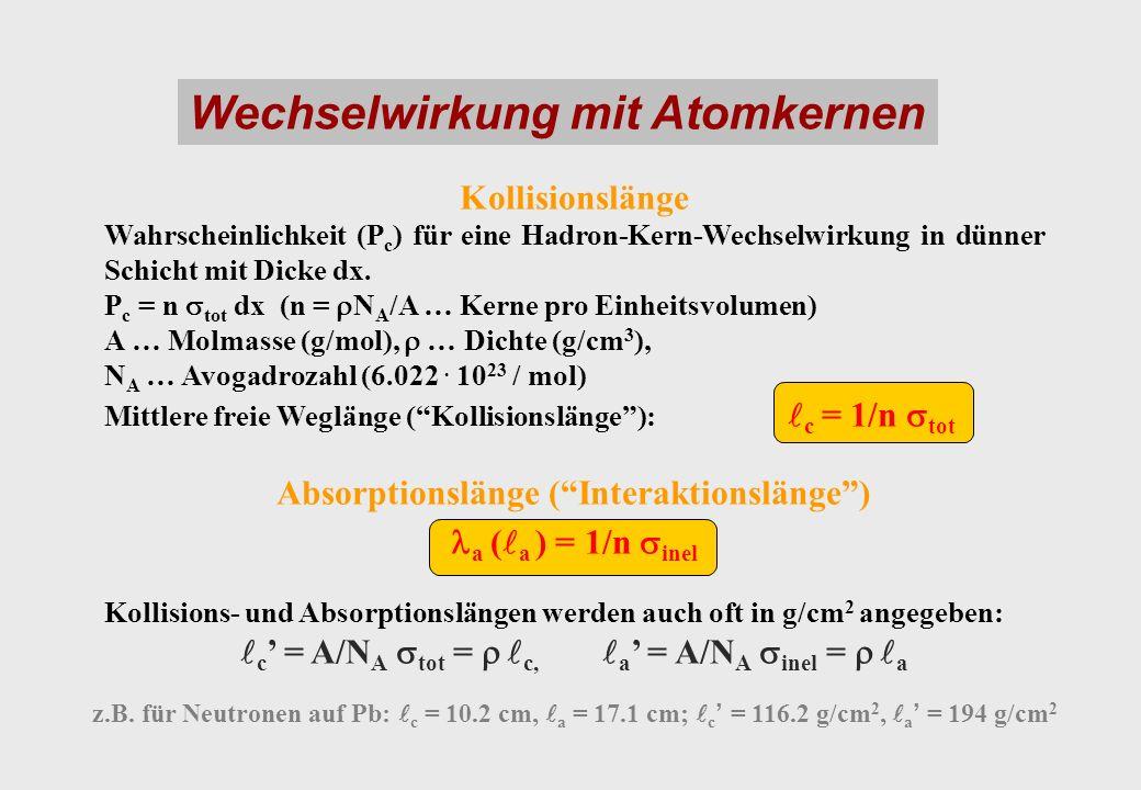 Wechselwirkung mit Atomkernen Kollisionslänge Wahrscheinlichkeit (P c ) für eine Hadron-Kern-Wechselwirkung in dünner Schicht mit Dicke dx. P c = n to