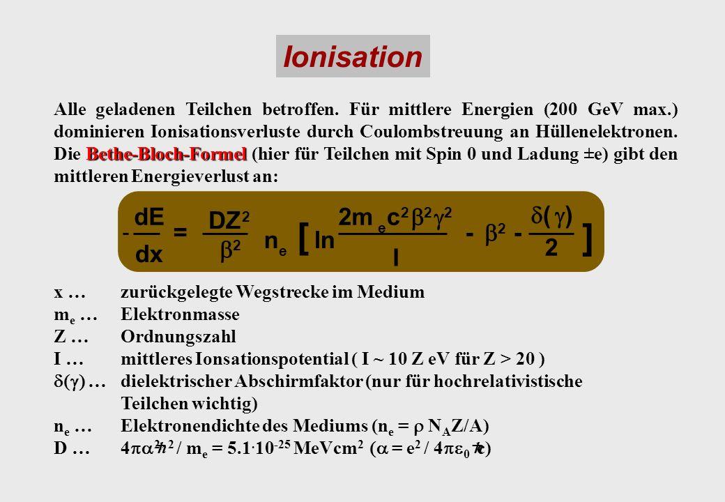 Ionisation dE DZ 2 2m e c 2 2 2 ( ) dx = 2 n e [ ln I - 2 - 2 ] Bethe-Bloch-Formel Alle geladenen Teilchen betroffen. Für mittlere Energien (200 GeV m