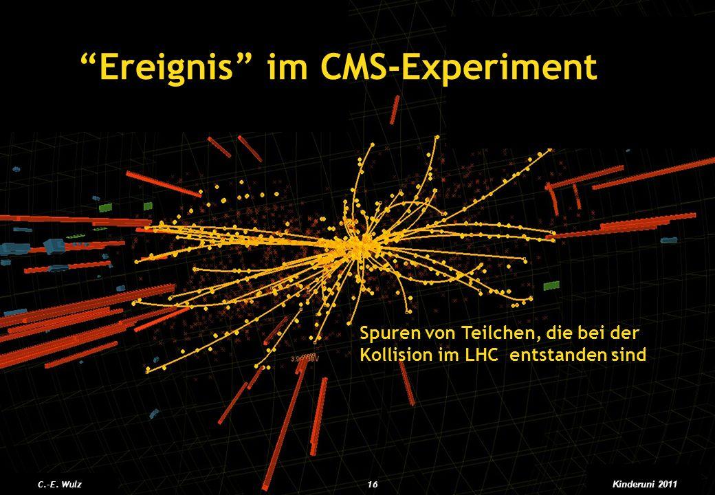 Moriond, March 2011 Ereignis im CMS-Experiment Spuren von Teilchen, die bei der Kollision im LHC entstanden sind C.-E. Wulz16 Kinderuni 2011