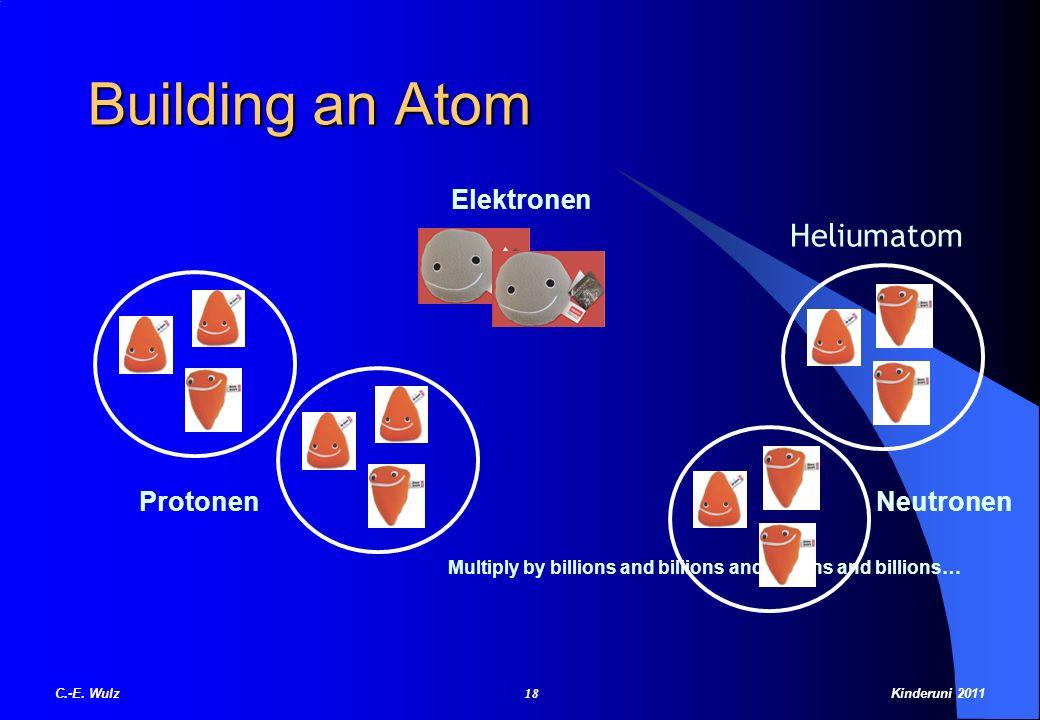 Building an Atom Protonen Neutronen Multiply by billions and billions and billions and billions… Heliumatom Elektronen C.-E. Wulz 18 Kinderuni 2011