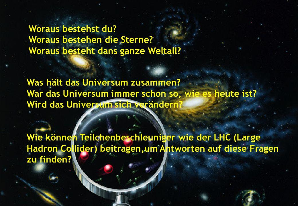Kinderuni 2011 Woraus bestehst du? Woraus bestehen die Sterne? Woraus besteht dans ganze Weltall? Was hält das Universum zusammen? War das Universum i