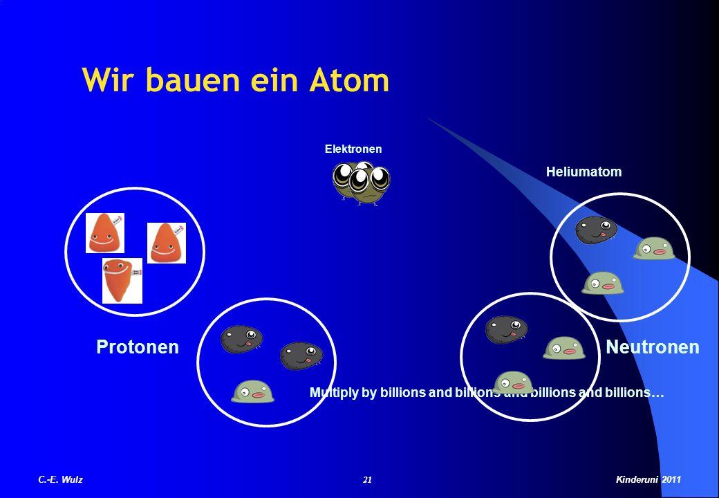 Protonen Neutronen Multiply by billions and billions and billions and billions… Elektronen Heliumatom Wir bauen ein Atom C.-E. Wulz 21 Kinderuni 2011