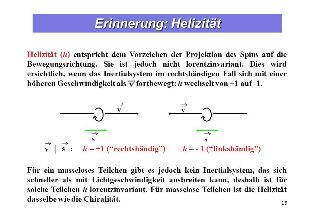 Erinnerung: Helizität 15 s v v s : h = +1 (rechtshändig) h = - 1 (linkshändig) v || s Helizität (h) entspricht dem Vorzeichen der Projektion des Spins