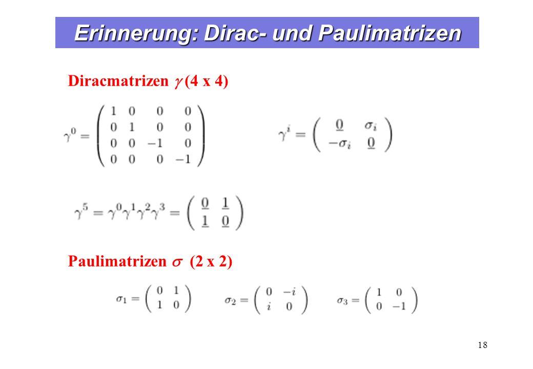 Erinnerung: Dirac- und Paulimatrizen 18 Diracmatrizen (4 x 4) Paulimatrizen (2 x 2)