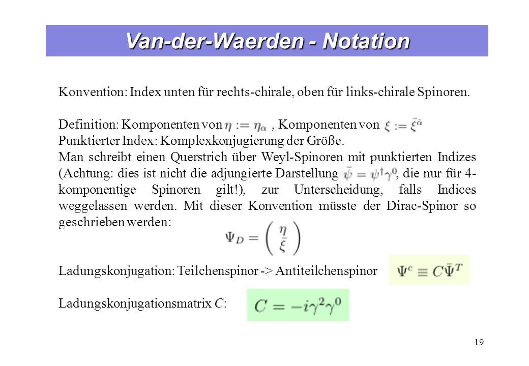Van-der-Waerden - Notation 19 Konvention: Index unten für rechts-chirale, oben für links-chirale Spinoren. Definition: Komponenten von, Komponenten vo