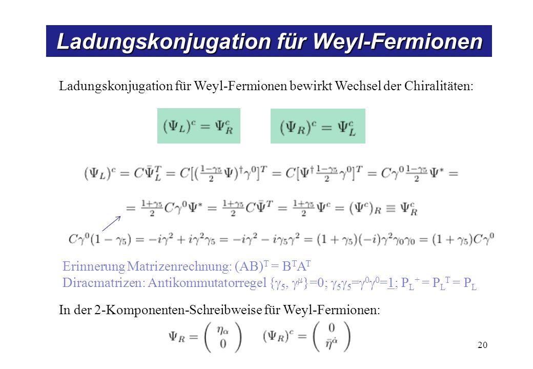 Ladungskonjugation für Weyl-Fermionen 20 Ladungskonjugation für Weyl-Fermionen bewirkt Wechsel der Chiralitäten: Erinnerung Matrizenrechnung: (AB) T =