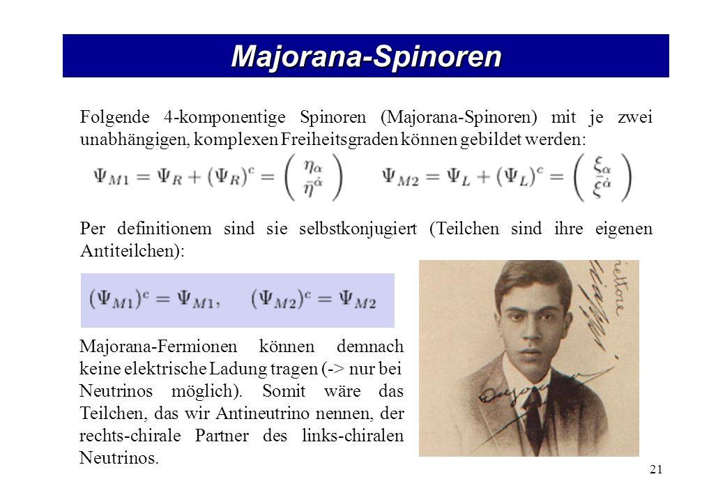 Majorana-Spinoren 21 Folgende 4-komponentige Spinoren (Majorana-Spinoren) mit je zwei unabhängigen, komplexen Freiheitsgraden können gebildet werden: