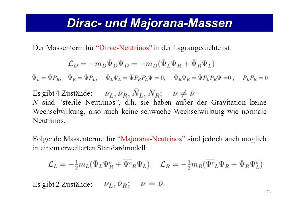 Dirac- und Majorana-Massen 22 Der Massenterm für Dirac-Neutrinos in der Lagrangedichte ist: Es gibt 4 Zustände: N sind sterile Neutrinos, d.h. sie hab