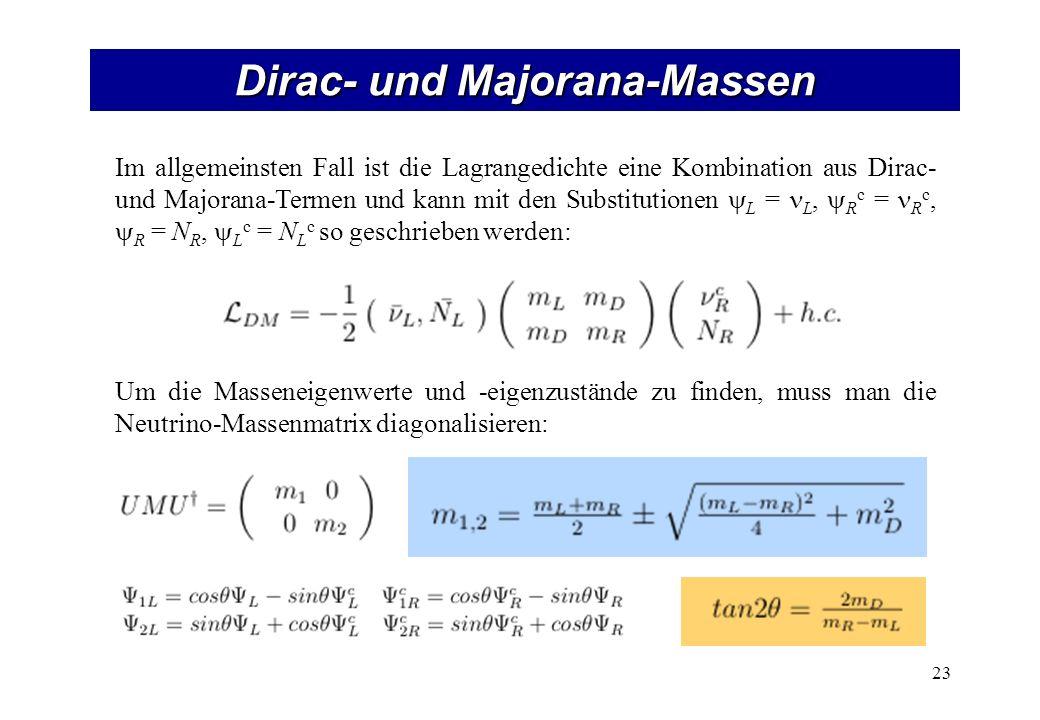 Dirac- und Majorana-Massen 23 Im allgemeinsten Fall ist die Lagrangedichte eine Kombination aus Dirac- und Majorana-Termen und kann mit den Substituti