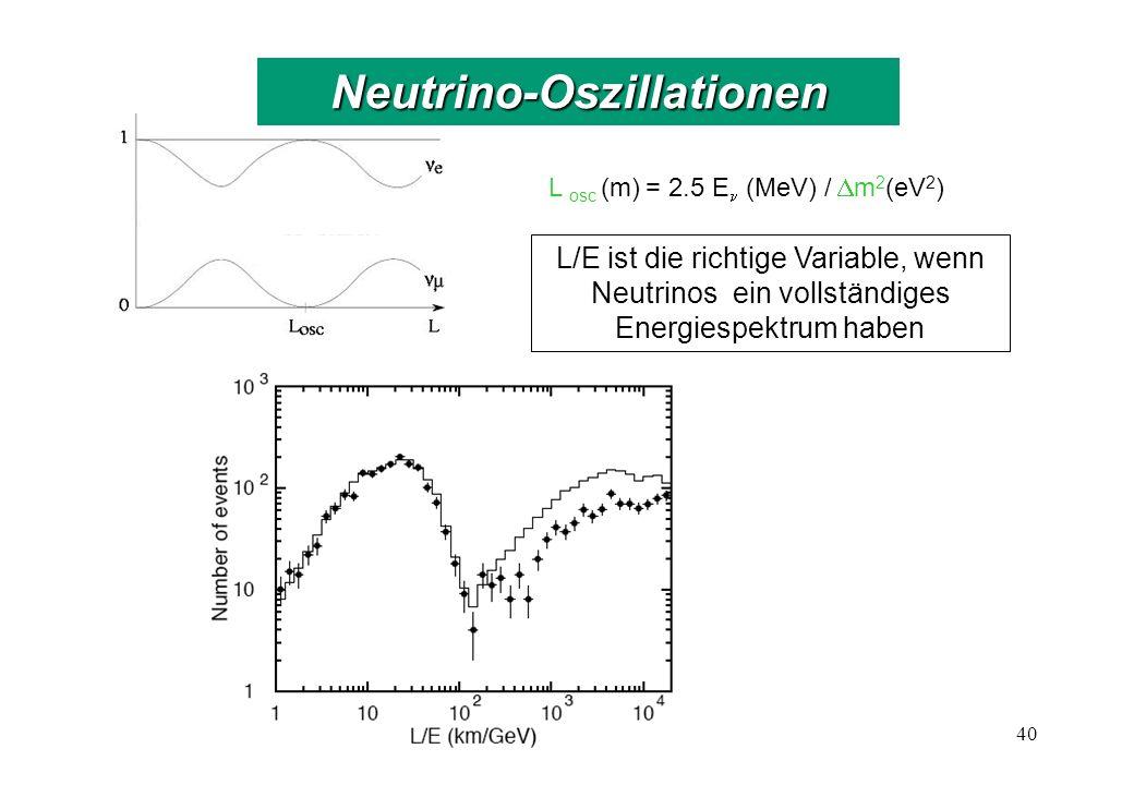 L osc (m) = 2.5 E (MeV) / m 2 (eV 2 ) L/E ist die richtige Variable, wenn Neutrinos ein vollständiges Energiespektrum haben 40 Neutrino-Oszillationen