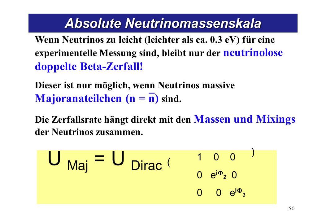 U Maj = U Dirac ( 1 0 0 0 e i 2 0 0 0 e i 3 ) Wenn Neutrinos zu leicht (leichter als ca. 0.3 eV) für eine experimentelle Messung sind, bleibt nur der