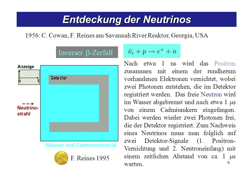 Entdeckung der Neutrinos 9 1956: C.Cowan, F.