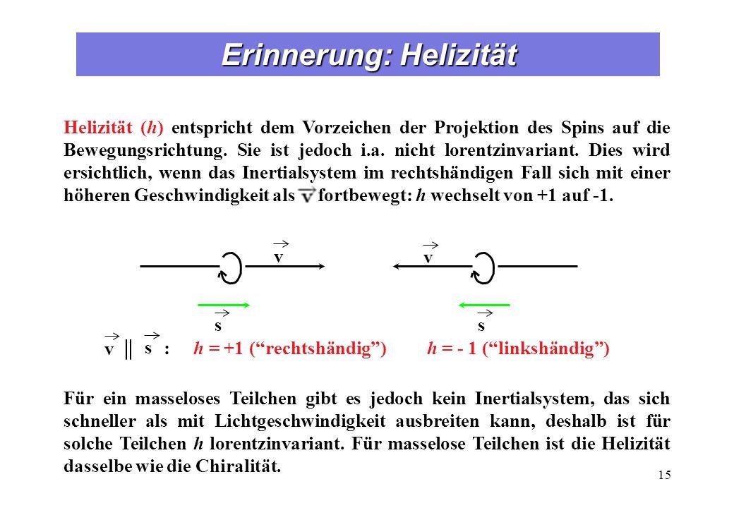 Erinnerung: Helizität 15 s v v s : h = +1 (rechtshändig) h = - 1 (linkshändig) v || s Helizität (h) entspricht dem Vorzeichen der Projektion des Spins auf die Bewegungsrichtung.