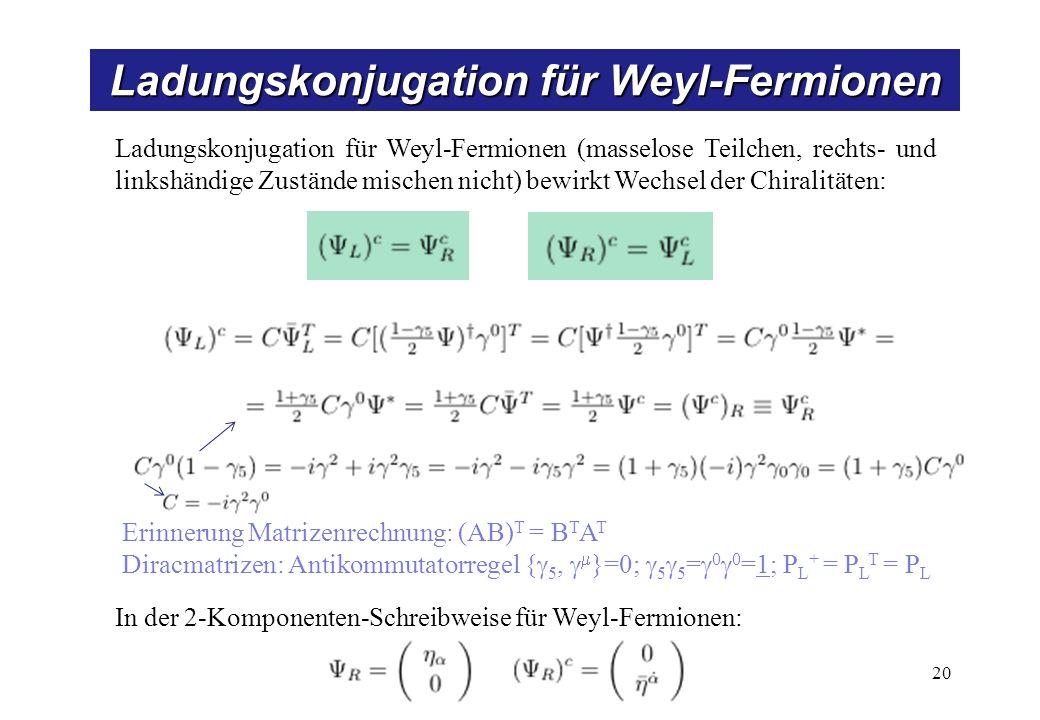 Ladungskonjugation für Weyl-Fermionen 20 Ladungskonjugation für Weyl-Fermionen (masselose Teilchen, rechts- und linkshändige Zustände mischen nicht) bewirkt Wechsel der Chiralitäten: Erinnerung Matrizenrechnung: (AB) T = B T A T Diracmatrizen: Antikommutatorregel { 5, }=0; 5 5 = 0 0 =1; P L + = P L T = P L In der 2-Komponenten-Schreibweise für Weyl-Fermionen: