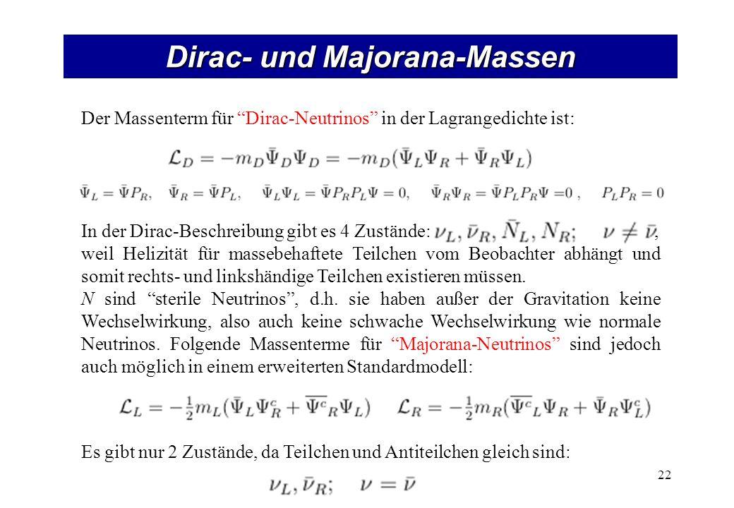 Dirac- und Majorana-Massen 22 Der Massenterm für Dirac-Neutrinos in der Lagrangedichte ist: In der Dirac-Beschreibung gibt es 4 Zustände:, weil Helizität für massebehaftete Teilchen vom Beobachter abhängt und somit rechts- und linkshändige Teilchen existieren müssen.