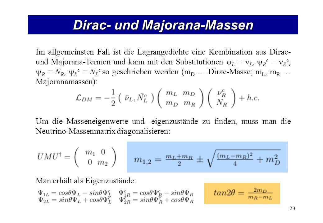 Dirac- und Majorana-Massen 23 Im allgemeinsten Fall ist die Lagrangedichte eine Kombination aus Dirac- und Majorana-Termen und kann mit den Substitutionen L = L, R c = R c, R = N R, L c = N L c so geschrieben werden (m D … Dirac-Masse; m L, m R … Majoranamassen): Um die Masseneigenwerte und -eigenzustände zu finden, muss man die Neutrino-Massenmatrix diagonalisieren: Man erhält als Eigenzustände: