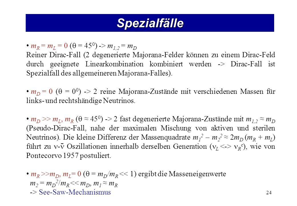 Spezialfälle 24 m R = m L = 0 ( = 45 0 ) -> m 1,2 = m D Reiner Dirac-Fall (2 degenerierte Majorana-Felder können zu einem Dirac-Feld durch geeignete Linearkombination kombiniert werden -> Dirac-Fall ist Spezialfall des allgemeineren Majorana-Falles).