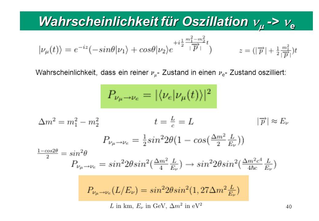 40 Wahrscheinlichkeit für Oszillation -> e Wahrscheinlichkeit, dass ein reiner - Zustand in einen e - Zustand oszilliert: