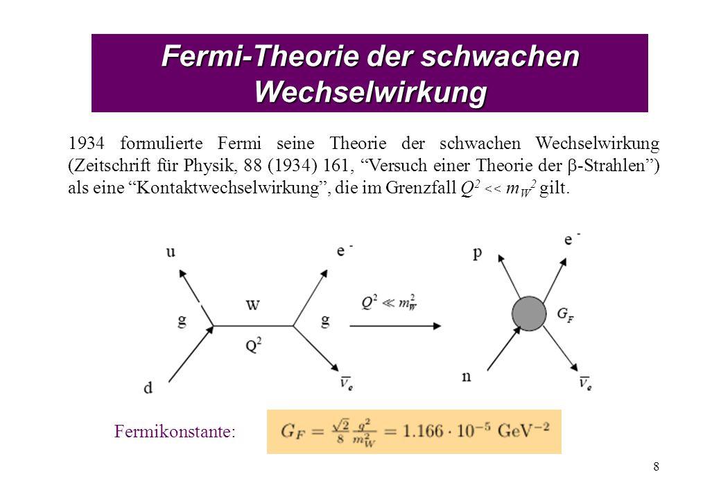 Fermi-Theorie der schwachen Wechselwirkung 8 1934 formulierte Fermi seine Theorie der schwachen Wechselwirkung (Zeitschrift für Physik, 88 (1934) 161, Versuch einer Theorie der -Strahlen) als eine Kontaktwechselwirkung, die im Grenzfall Q 2 << m W 2 gilt.