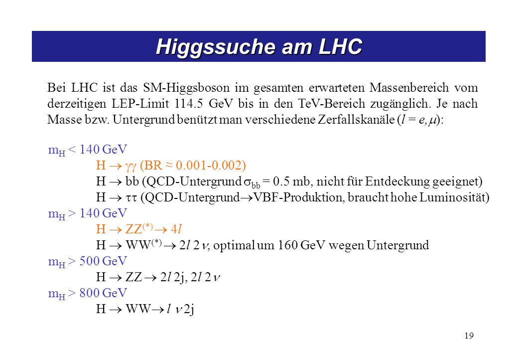 19 Bei LHC ist das SM-Higgsboson im gesamten erwarteten Massenbereich vom derzeitigen LEP-Limit 114.5 GeV bis in den TeV-Bereich zugänglich. Je nach M