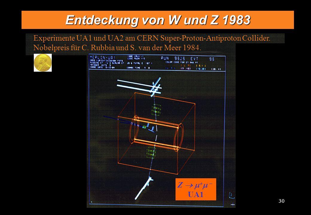 30 Entdeckung von W und Z 1983 Z UA1 Experimente UA1 und UA2 am CERN Super-Proton-Antiproton Collider. Nobelpreis für C. Rubbia und S. van der Meer 19