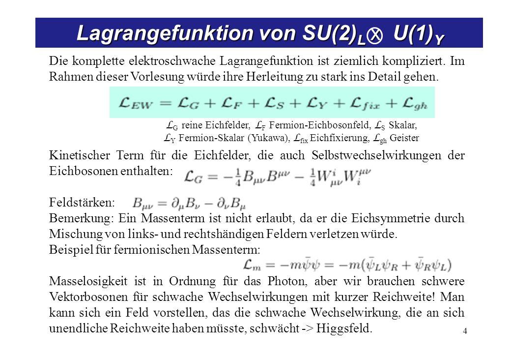 4 Lagrangefunktion von SU(2) L x U(1) Y Die komplette elektroschwache Lagrangefunktion ist ziemlich kompliziert. Im Rahmen dieser Vorlesung würde ihre