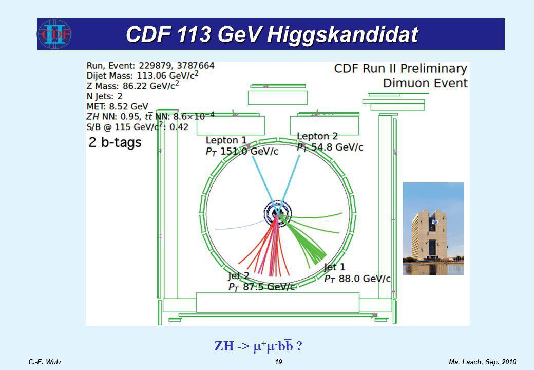 CDF 113 GeV Higgskandidat C.-E. Wulz19Ma. Laach, Sep. 2010 ZH -> + - bb ? _