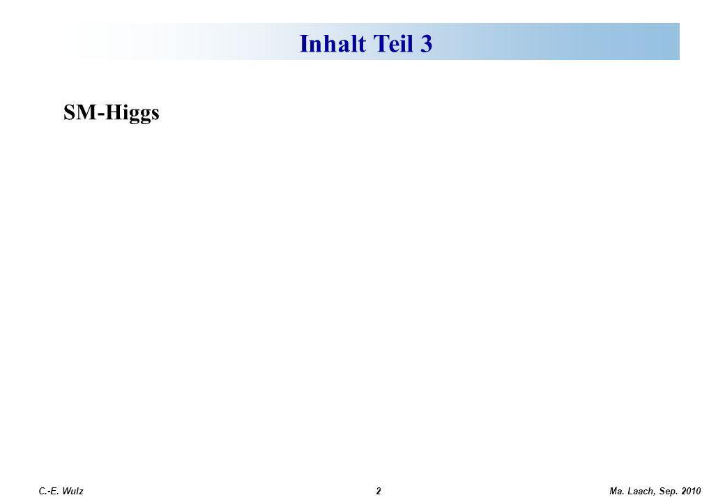 Ma. Laach, Sep. 2010 C.-E. Wulz2 Offene fundamentale Fragen SM-Higgs Inhalt Teil 3