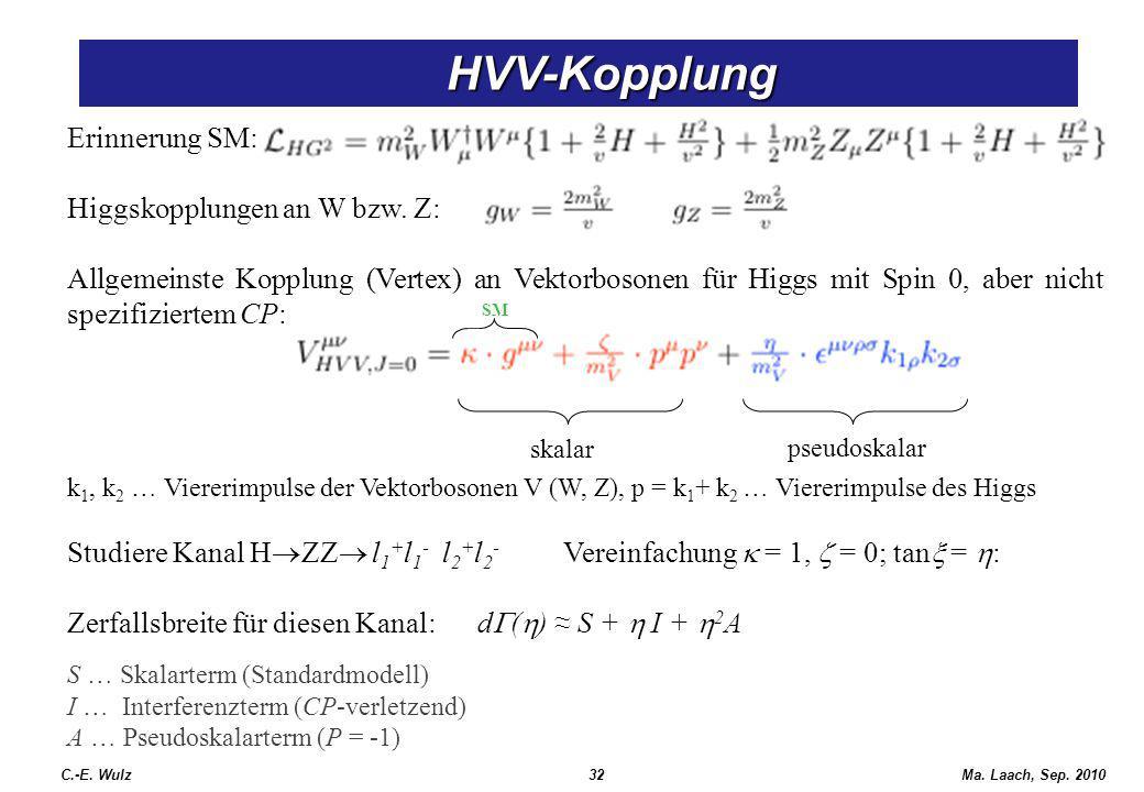 HVV-Kopplung HVV-Kopplung C.-E. Wulz32Ma. Laach, Sep. 2010 Erinnerung SM: Higgskopplungen an W bzw. Z: Allgemeinste Kopplung (Vertex) an Vektorbosonen