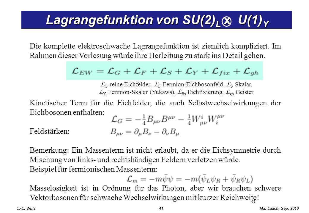 Ma. Laach, Sep. 2010 41 Lagrangefunktion von SU(2) L x U(1) Y Die komplette elektroschwache Lagrangefunktion ist ziemlich kompliziert. Im Rahmen diese