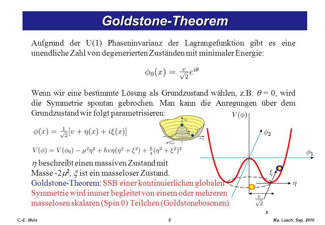 Ma. Laach, Sep. 2010 8 Goldstone-Theorem Aufgrund der U(1) Phaseninvarianz der Lagrangefunktion gibt es eine unendliche Zahl von degenerierten Zuständ