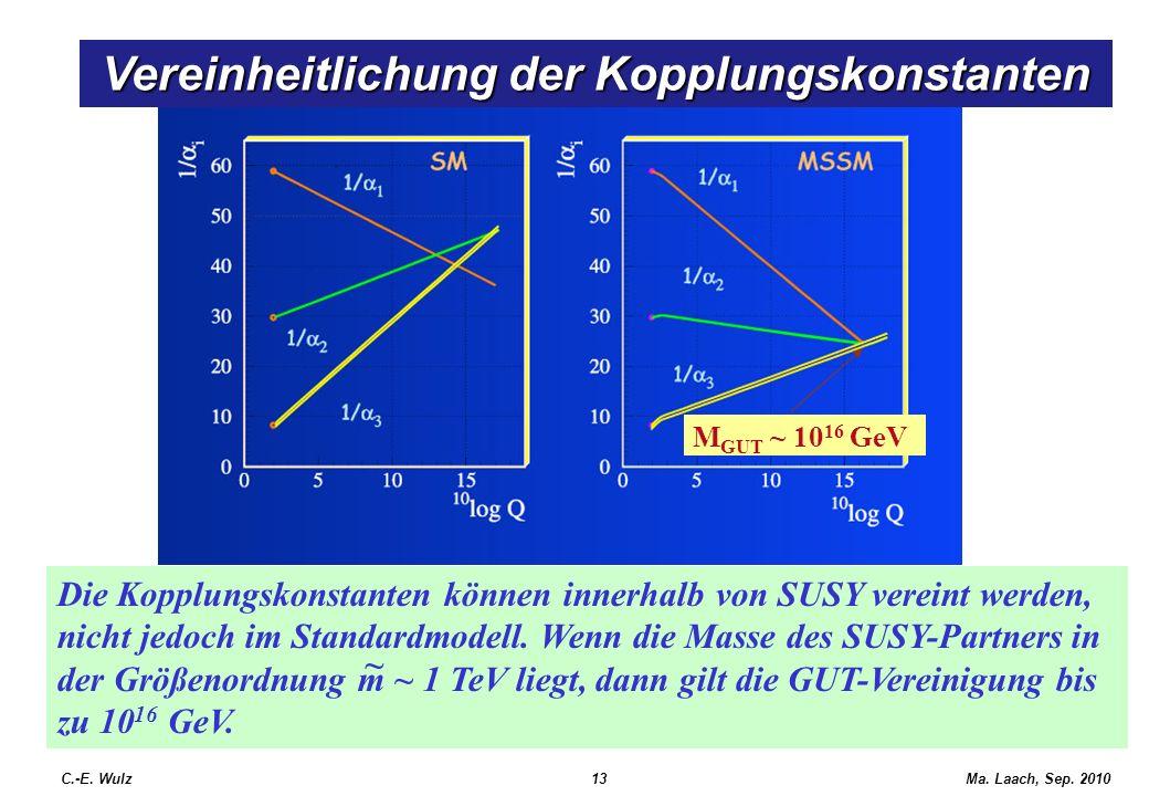 Ma. Laach, Sep. 2010 Die Kopplungskonstanten können innerhalb von SUSY vereint werden, nicht jedoch im Standardmodell. Wenn die Masse des SUSY-Partner