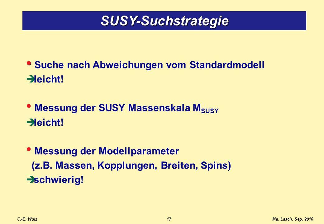 Suche nach Abweichungen vom Standardmodell leicht! Messung der SUSY Massenskala M SUSY leicht! Messung der Modellparameter (z.B. Massen, Kopplungen, B